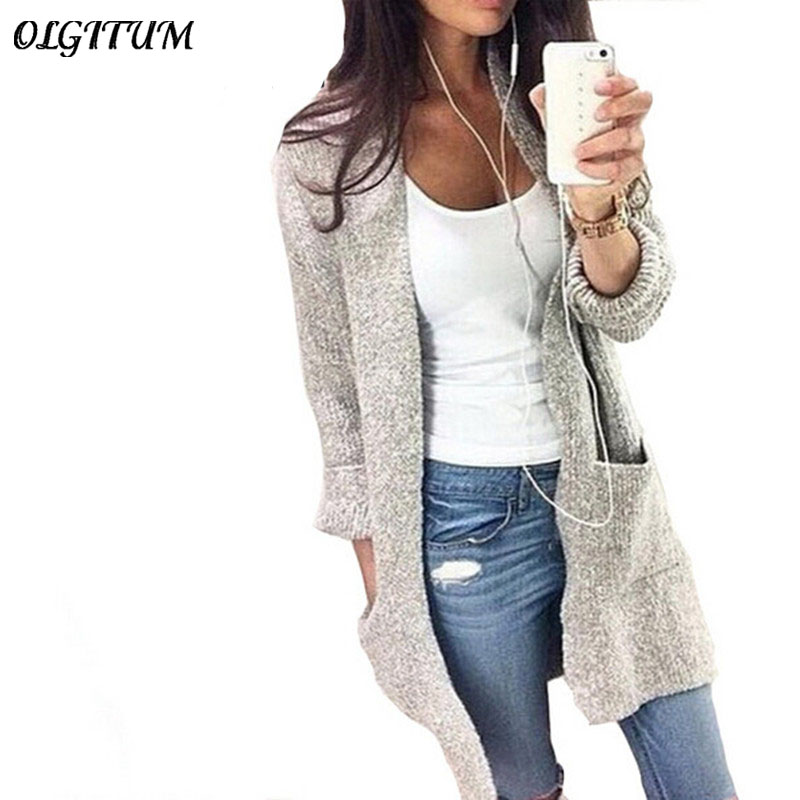 2018 Fashion Autumn Winter Long Sleeve Women cardigan loose knitting Pocket sweater Solid color Female Cardigan 2 colors