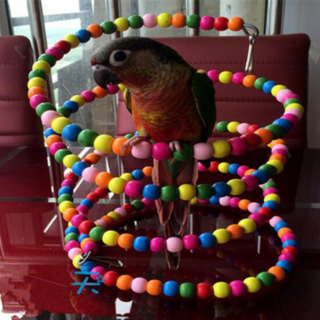New Funny Rainbow Bead 100CM Swing Parrot Bird Ladder Wooden Pet Toy Pet Accessories bead
