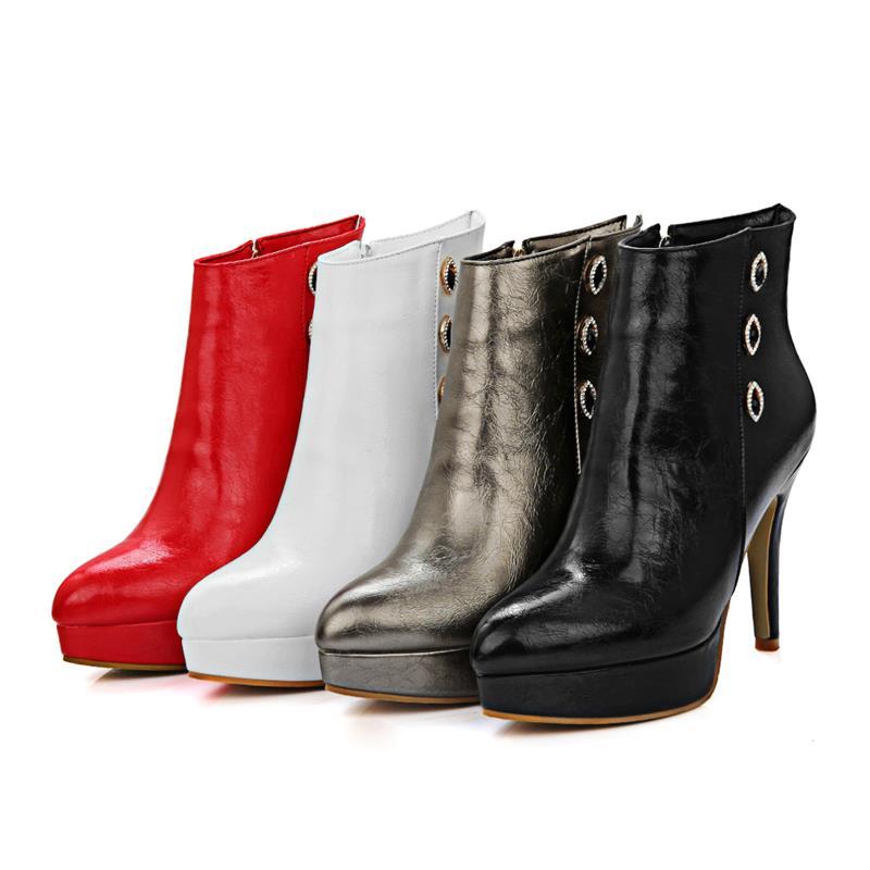 Plataforma gun Mujeres Altos Los Thin Reina De Zapatos Tacones 2018 Invierno Botas Toe Smeeroon Lateral Punta Cremallera Popular Las Estilo blanco Color Negro Tobillo rojo CqW8xB