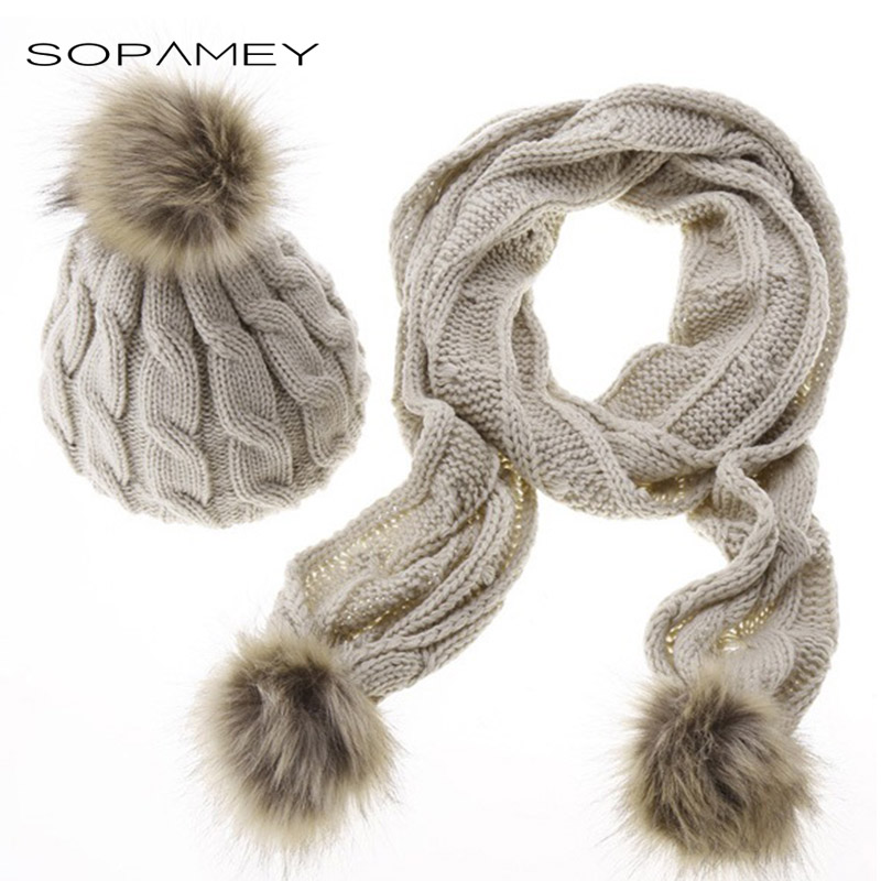 Adult knitted Scarf and Hat Set Luxury Winter Warm Crochet Hats and Scarves with Real Fur Pompom Beanie Cap for Women and girls 2017 winter women beanie skullies men hiphop hats knitted hat baggy crochet cap bonnets femme en laine homme gorros de lana