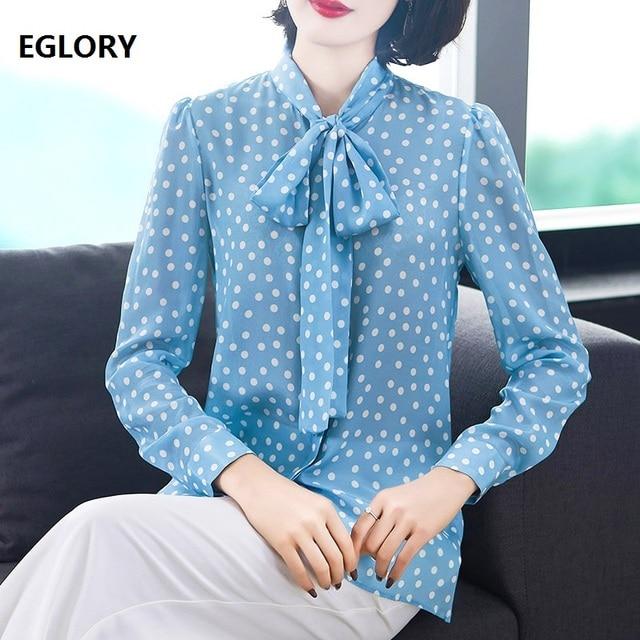 Polka Dot Print Blouses 2019 Spring Summer Blouse Shirt 100% Silk Women Bow Collar Long Sleeve Blue Shirt Blusas Feminina Bolsa