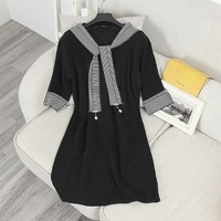 Autumn Winter Striped Three Quarter Sleeve Sweater Dress School Style Shawl Collar Loose Knitting Dress