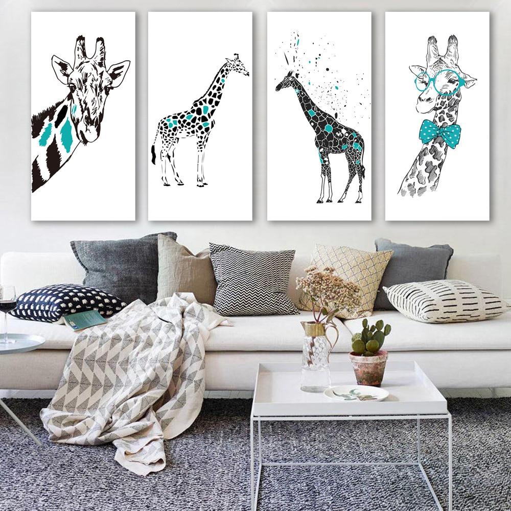 European style decoration drawing cartoon animals Giraffe art print ...