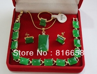Real Natural green jade jewelry necklace pendant bracelet earrings - Fine Jewelry - Photo 1