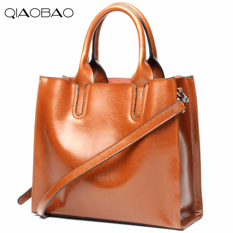 купить QIAOBAO 100% Genuine leather bag cowhide women messenger bags women brands designer handbags