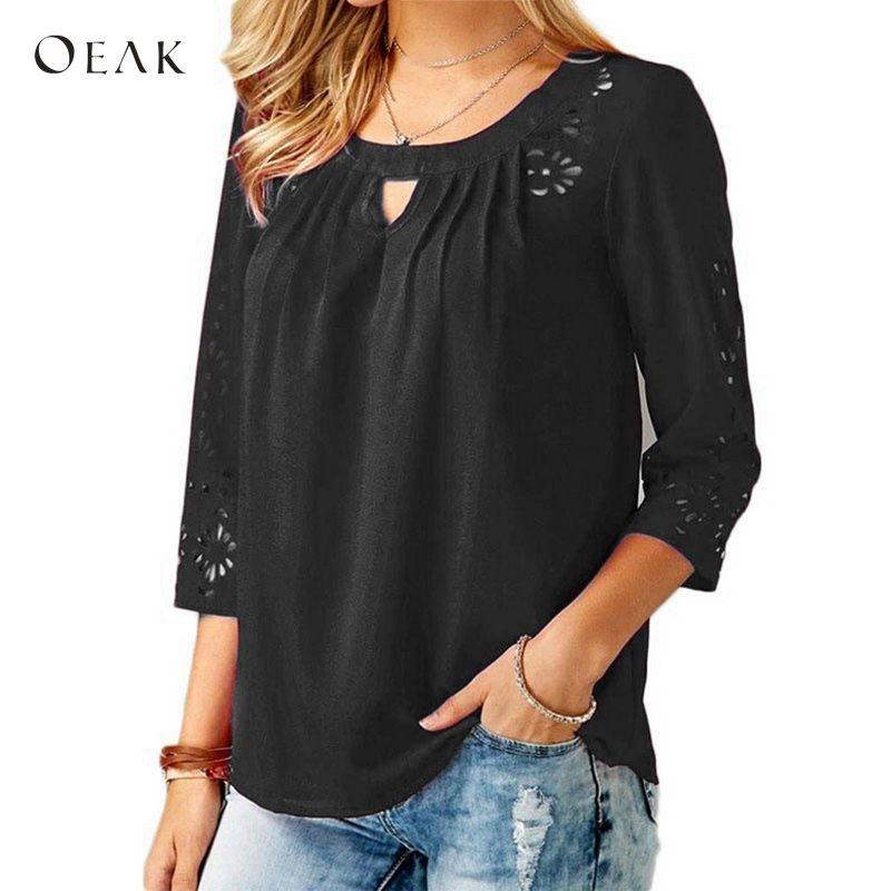 OEAK 5XL Plus Size Autumn Women Elegant Chiffon   Blouses     Shirts   Solid 3/4 Sleeve Lace Hollow Out Blusas Work OL Camisa Femme