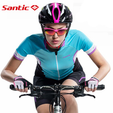 Santic Women Outdoor Cycling Clothing Sportswear Bicycle Blue Short Fast Dry MTB Road Bike UV-proof Cycling Jersey L6C02087Z