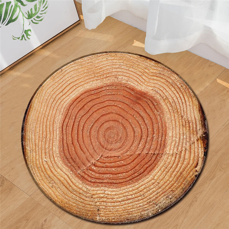LeRadore 2018 New Round Carpet 3D Print Wood Soft Rugs Anti-slip Rug Dia. 80/95cm Computer Chair Mat Floor Mat for Kids
