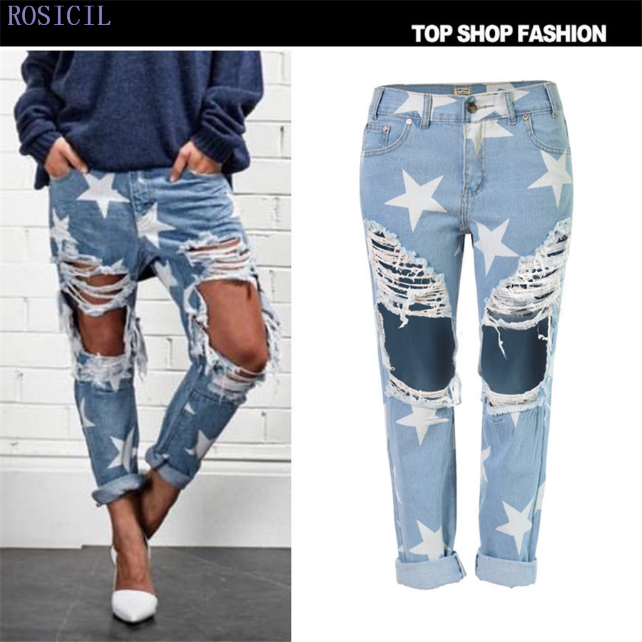 ROSICIL 2016 Ripped Jeans Female Casual Washed Holes Boyfriend Jeans for Women Regular Long Torn Jeans Wild Denim Pants TSL014 setwigg womens ripped thick cotton denim jeans blue washed holes boyfriend style female casual jeans pants sg25