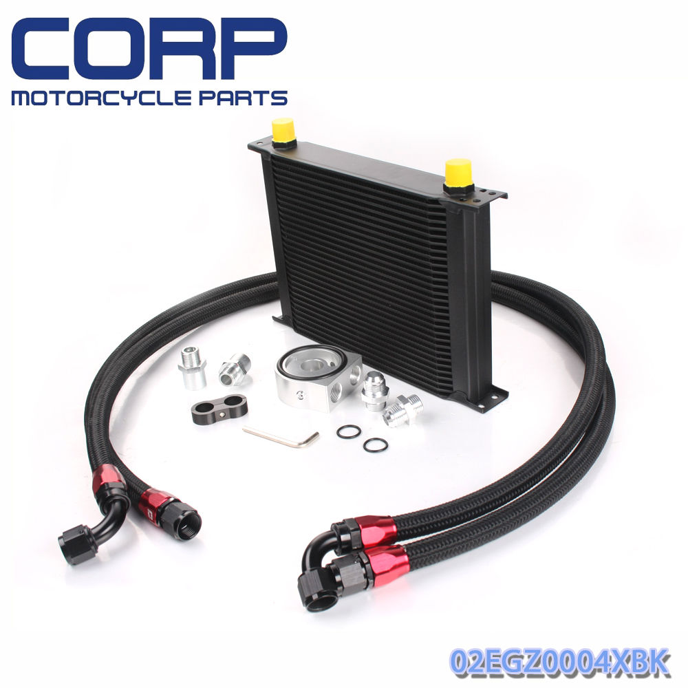 Universal 30 Row JDM Engine Oil Cooler Kit + Sandwich Plate + AN10 Oil Lines Kit универсальные полотенца top gear