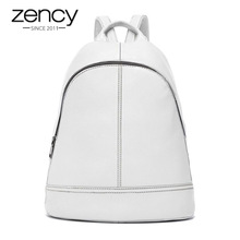Zency 100% Genuine Leather Simple Fashion Women Backpacks Holiday Female Knapsack Lady Casual Travel Bags Preppy Style Schoolbag