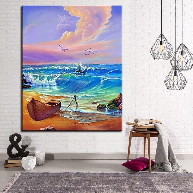 Diy Pintura De Barco Mar Por Números Kits Dibujo Para Colorear Olas Océano Imágenes Aceite Mano Lienzo Paisaje Pared Arte Hogar Decoración