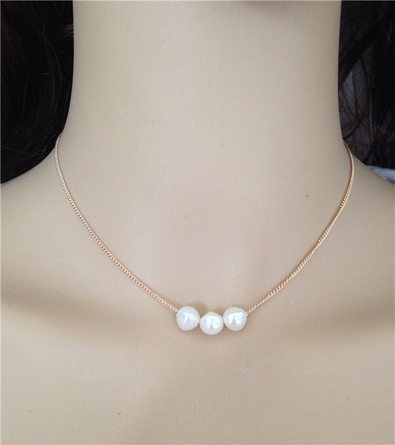 0a5526be2a34f US $1.3 |Real Three Pearl Pendant Necklace Triple Pearl Choker Necklace  Gold Plated Chain Neckless Cultured Freshwater Pearl Jewelry-in Choker ...