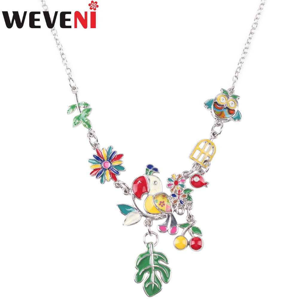 WEVENI Statement Enamel Owl Cherry Leaf Parrot Bird Choker Necklace Pendants Chain Collar Fashion Women Jewelry Accessories