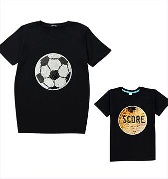 football magic switchable sequin boys tee shirt kid new fashion white t shirt children tops clothes 3-10T