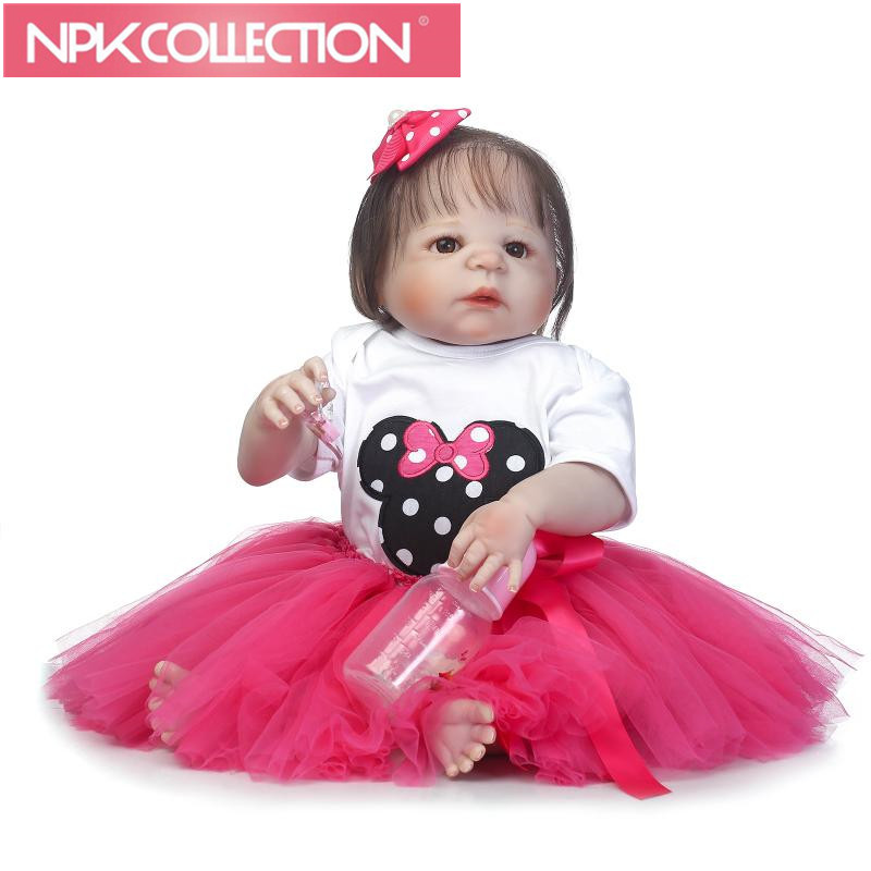 22 Reborn toy full silicone reborn baby girl dolls for child gift real alive soft touch bebe realistic reborn bonecas npkcollection 50 cm real dolls baby alive bonecas realistic silicone reborn dolls soft toy for girls birthday xmas gift juguete