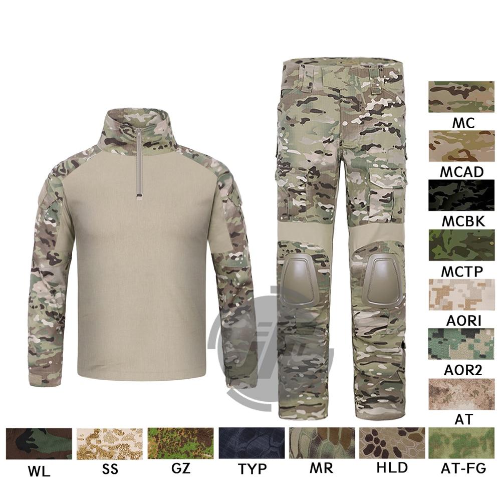 Emerson G2 Chemise de Combat & Pantalons Tops + Pantalon w/Coude et Genouillères Ensemble Tactique Militaire Airsoft EmersonGear GEN 2 BDU