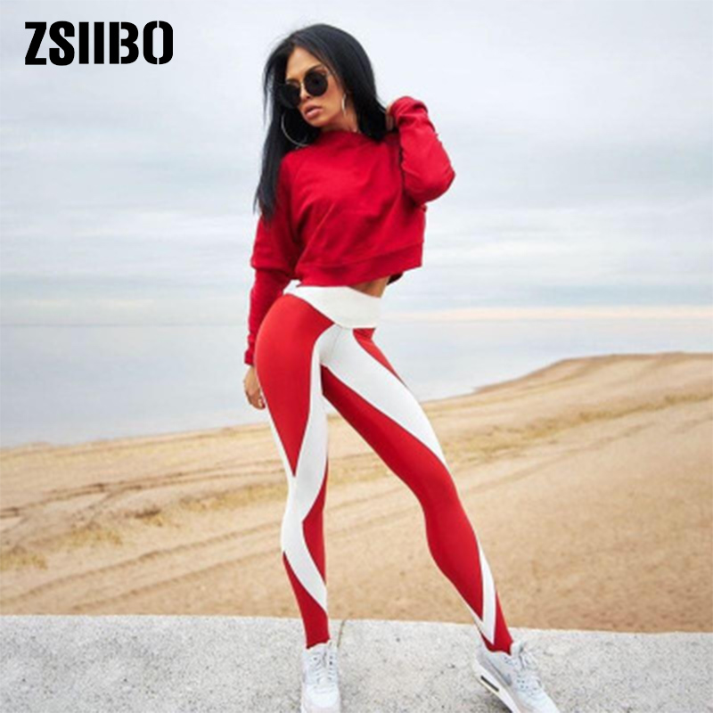 ZSIIBO Fashion High Waist Blue  White Stitching Sexy Women's Plus Size Leggings Of Fitness Sexy Workout Pants Gothic 2019 Spring