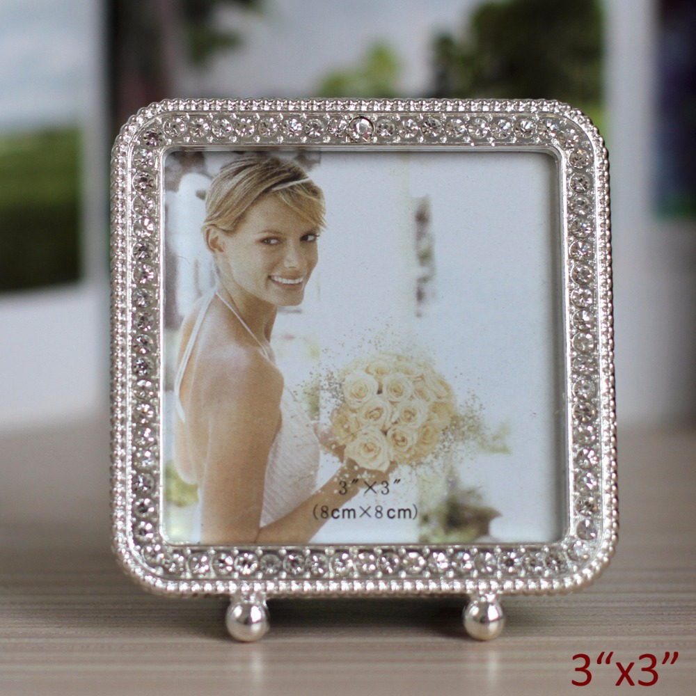 US $15 5 |Cute 3x3 inches Round Silver Plated with Clear Rhinestones Ornate  Footed Metal Table Picture Frame-in Frame from Home & Garden on