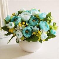 Ceramic Pot European Artificial Flower craft Artificial Blue flower Bud Green Plant Home/Hotel/Office/Party/Wedding Decor