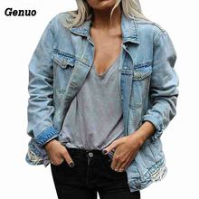 Autumn Winter Women Loose Casual Denim Jacket Hole Slimming Basic Coat Jeans Fit Style Genuo