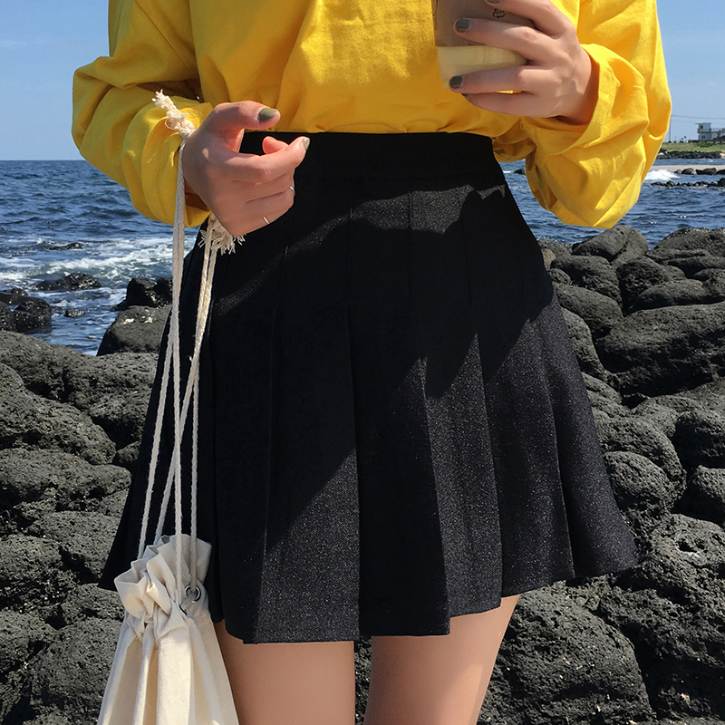 2017 New Fashion A-line College Wind Solid Simple Pleated All Match Casual Female Skirts