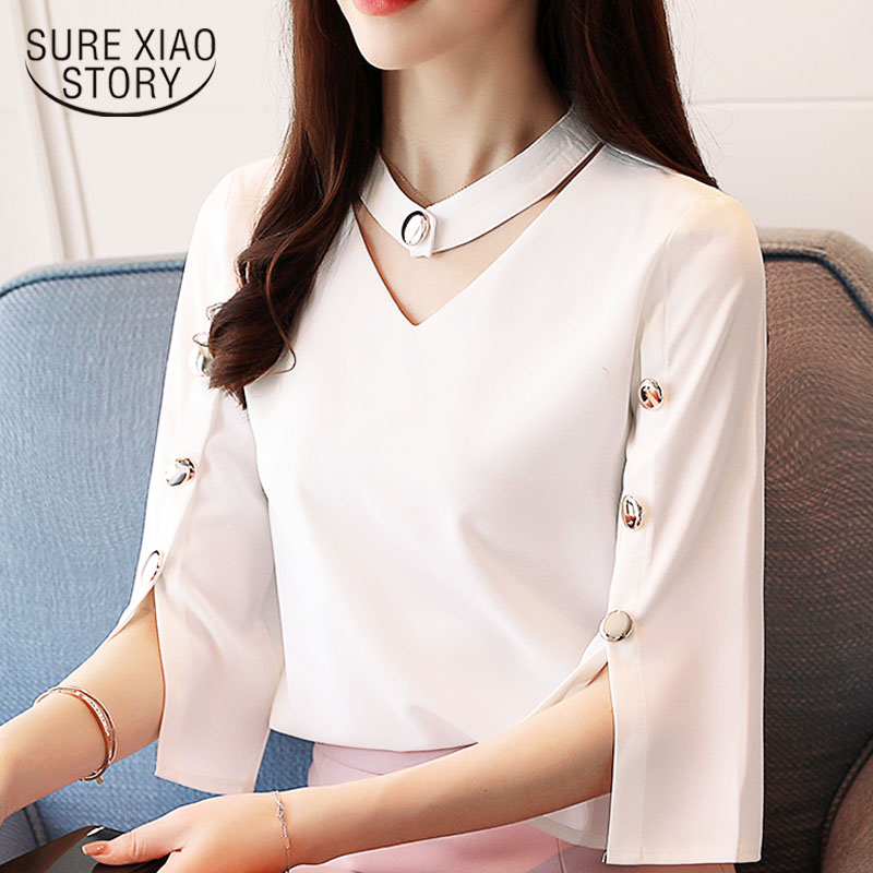 Women Blouse 2019  Ladies Tops Chiffon Blouse Beading Solid White Shirt Blouse Clothes  Shirts Three Quarter V-Neck  2994 50