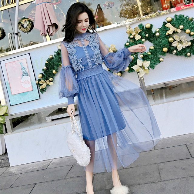 2e6586cfc331 Blue Lace Dress Women 2018 Autumn Korean Elegant Vintage See-through Mesh  Patchwork Long Party Dress Black Two Piece Dress D222
