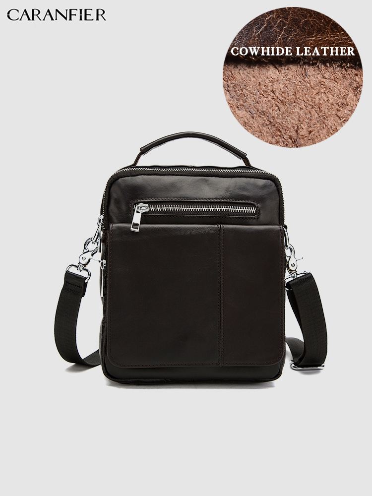 CARANFIER Mens Travel Bags Casual Shoulder Crossbody Bags Genuine Cowhide Leather Handbags High Quality Solid Messenger Bags