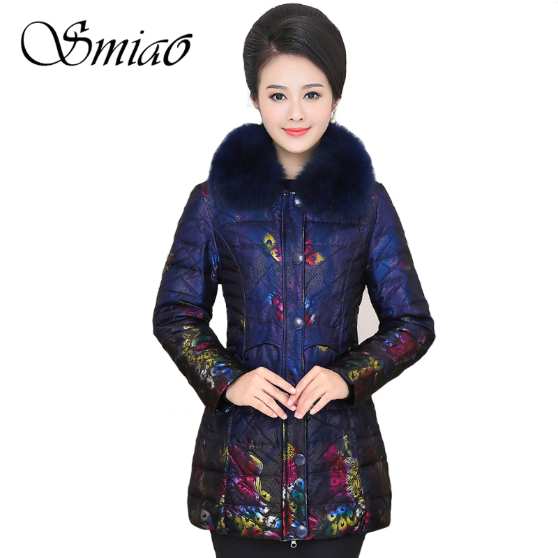 Smiao 2017 Color Peacock Printing Winter Duck Down Jacket Women Fur Collar Long Coat Female Parkas Thick Warm Winter Outerwear цены онлайн