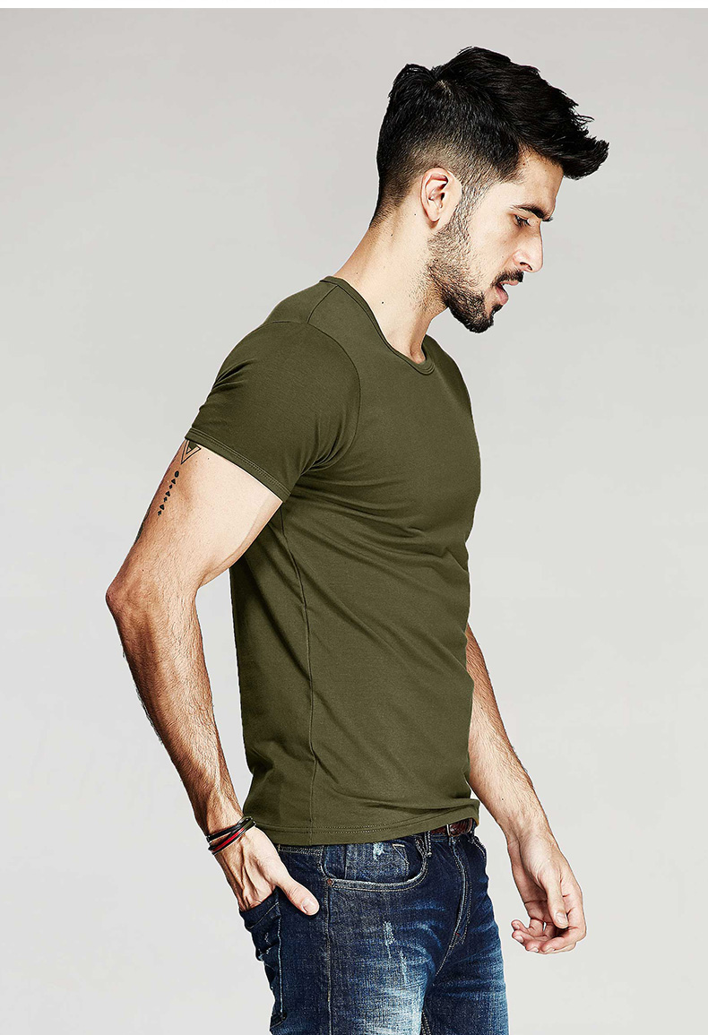 KUEGOU Summer Mens Casual T Shirts 10 Solid Colors Brand Clothing Man's Wear Short Sleeve Slim T-Shirts Tops Tees Plus Size 601 45