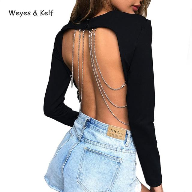 b357772a Weyes & Kelf Backless Sexy Women Grop Tops 2018 Solid Metal Chain Halter  Punk T-