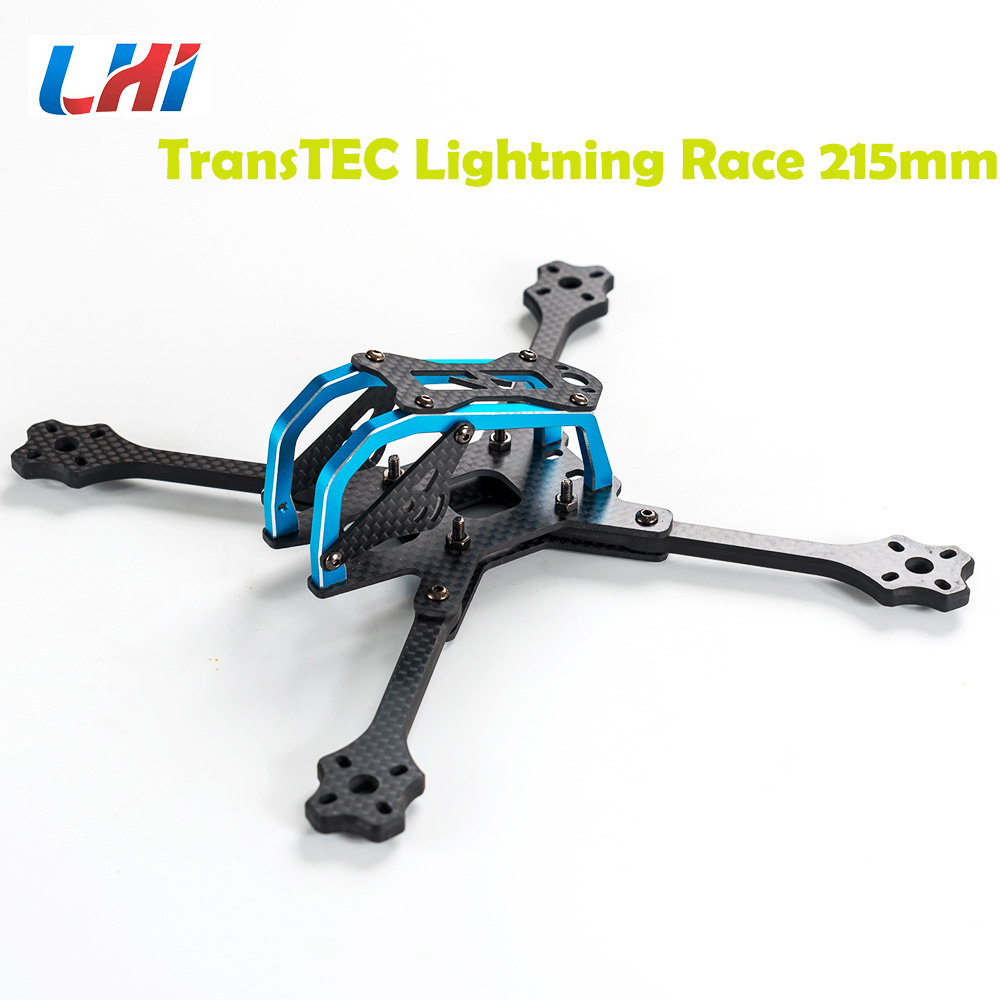 2017Newest TransTEC 215mm 5mm 3K Full Carbon Fiber Frame Kit for Lightning Race Blue / Sliver for RC Racing Racer Drone Toy DIY transtec freedom 215mm 4mm 3k carbon fiber quad frame kit for multirotor fpv rc racing racer frame drone kit quadcopter uav diy