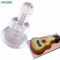 Instrumentos Musicales Guitar 3D Cake Pan Cake Estaño Molde de Cocina Herramientas de la Hornada De Pasteles de Pasta de Azúcar Para Hornear De Aluminio de BRICOLAJE Grande de La Magdalena