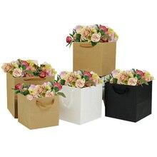 5 шт крафт-мешок цветочный горшок упаковка мешок цветочный магазин упаковка материал мешок подарок бумажный мешок красный черный 21 см 25 см 30 см квадратный