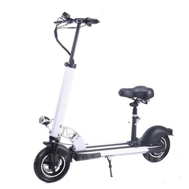 Us 572 1 28 Off Daibot Electric Scooter For Adults With Seat 10 Inch Two Wheel Electric Scooters 400w 36v Foldable Electric Skateboard White In