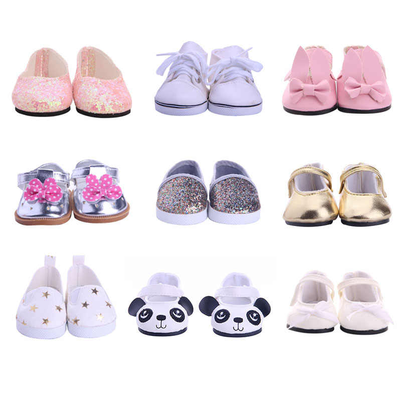 Doll Shoes 9 Styles Canvas Casual Cute Animals Shoes For 18 Inch American Doll For Generation Girl`s Toy Doll Accessories