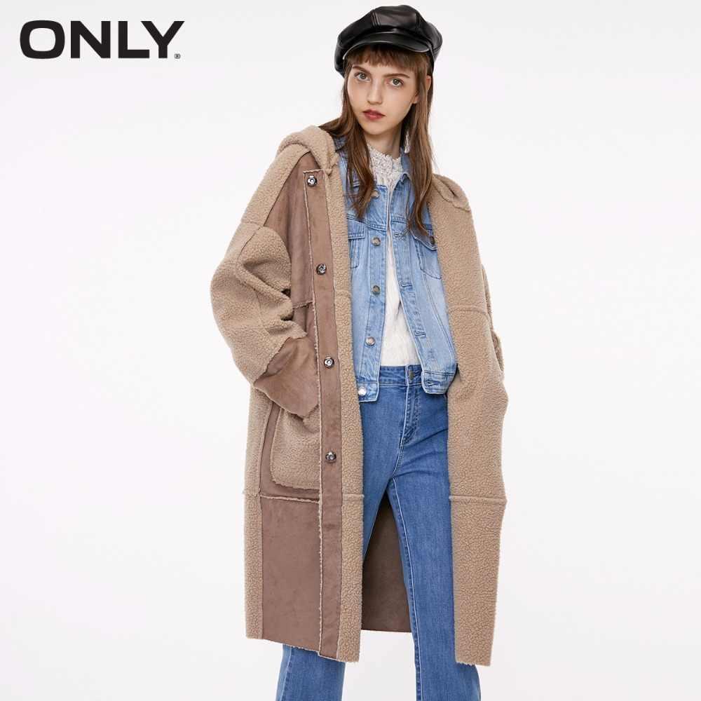 Только Женская зимняя новая овечья кашемировая длинная Лоскутная хлопковая одежда дизайн с большим карманом парка женская | 1183PU502