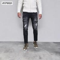 Ripped Biker Jeans Men Denim Skinny Jeans Men Black Hip Hop Jeans Hombre Slim Fit Fashion