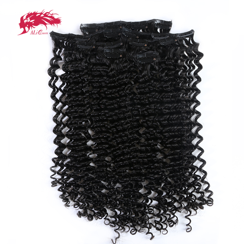 Ali Queen Hair 7pcs/Set Kinky Curly Clip In Human Hair Extensions Natural Black Color Machine Made Remy Hair 120g/Set(China)