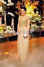 2016 neueste Einbau Sexy Lady Schöne New Fashion Cap Sleeves Kristalle Perlen Scoop Graceful Lange Pageant Ereignis Abendkleider