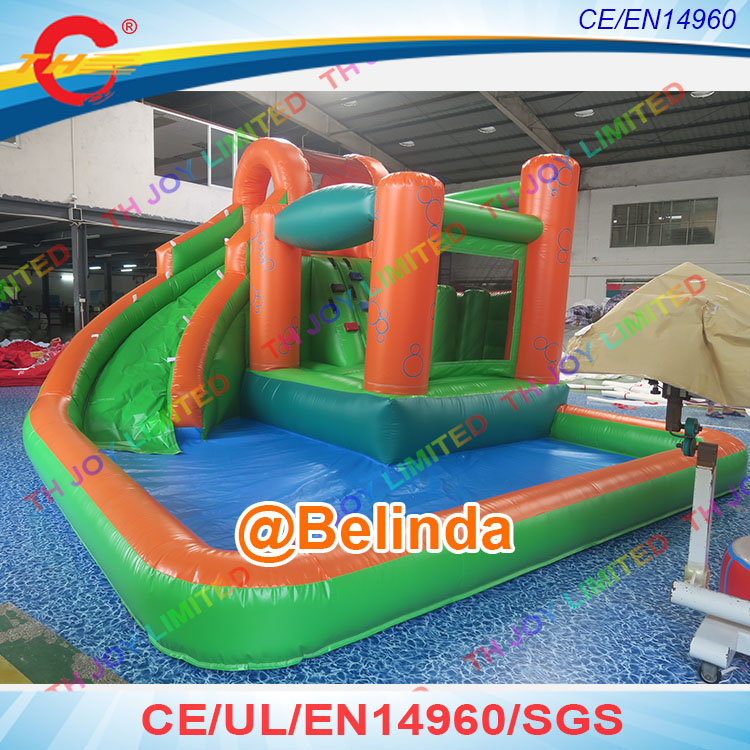 Free shipping, 4x6m inflatable water slide for kids and adults, inflatable pool slide water slide with pool