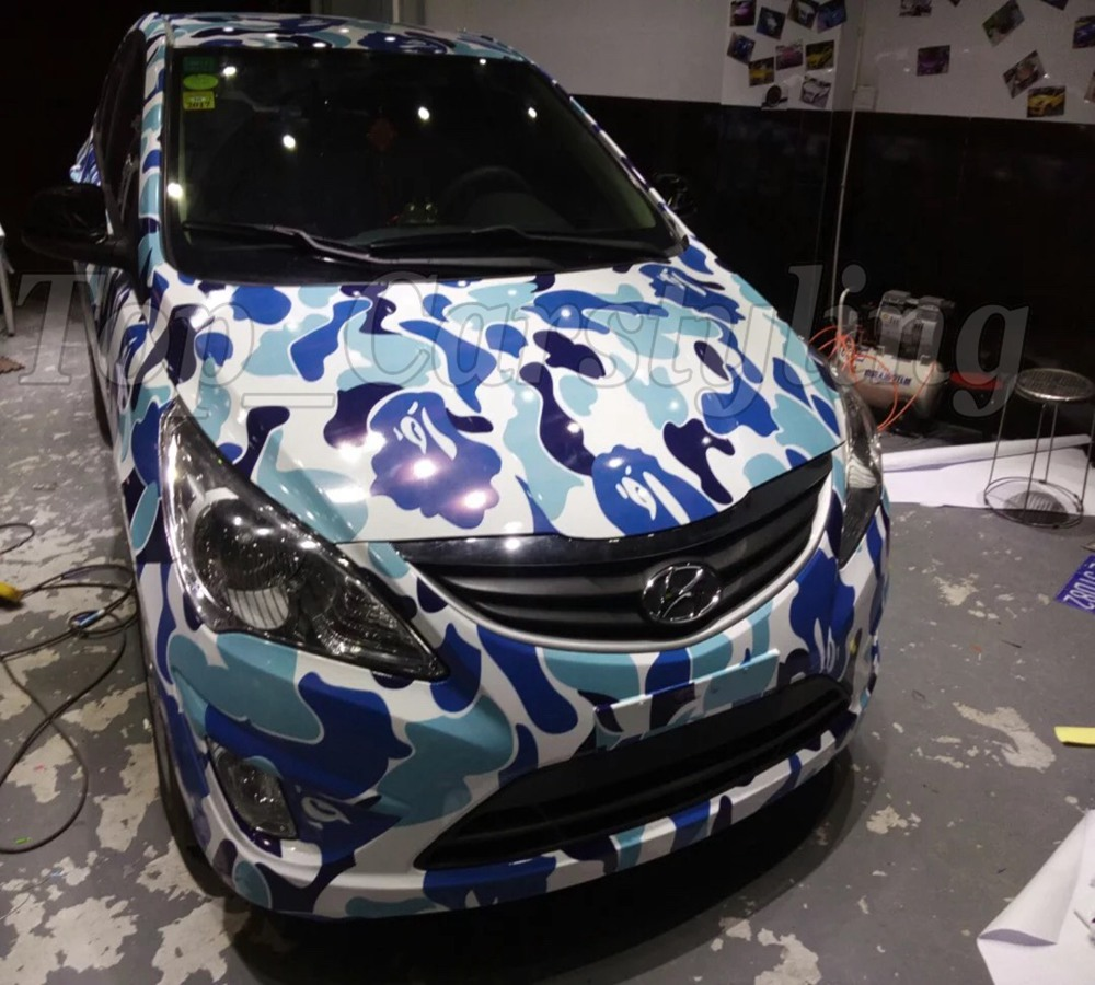 Baby blue & White Camo Vinyl Camouflage Car Wrap Car Vinyl Sticker Sheet Digital Decals with Bubble Free /1.52x5/10/15/20/30m стоимость