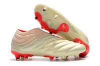 Newest Release ZUSA COPA 19+ FG OFF White Solar Red Football Boots 2019 Soccer Cleats Mens Soccer Shoes