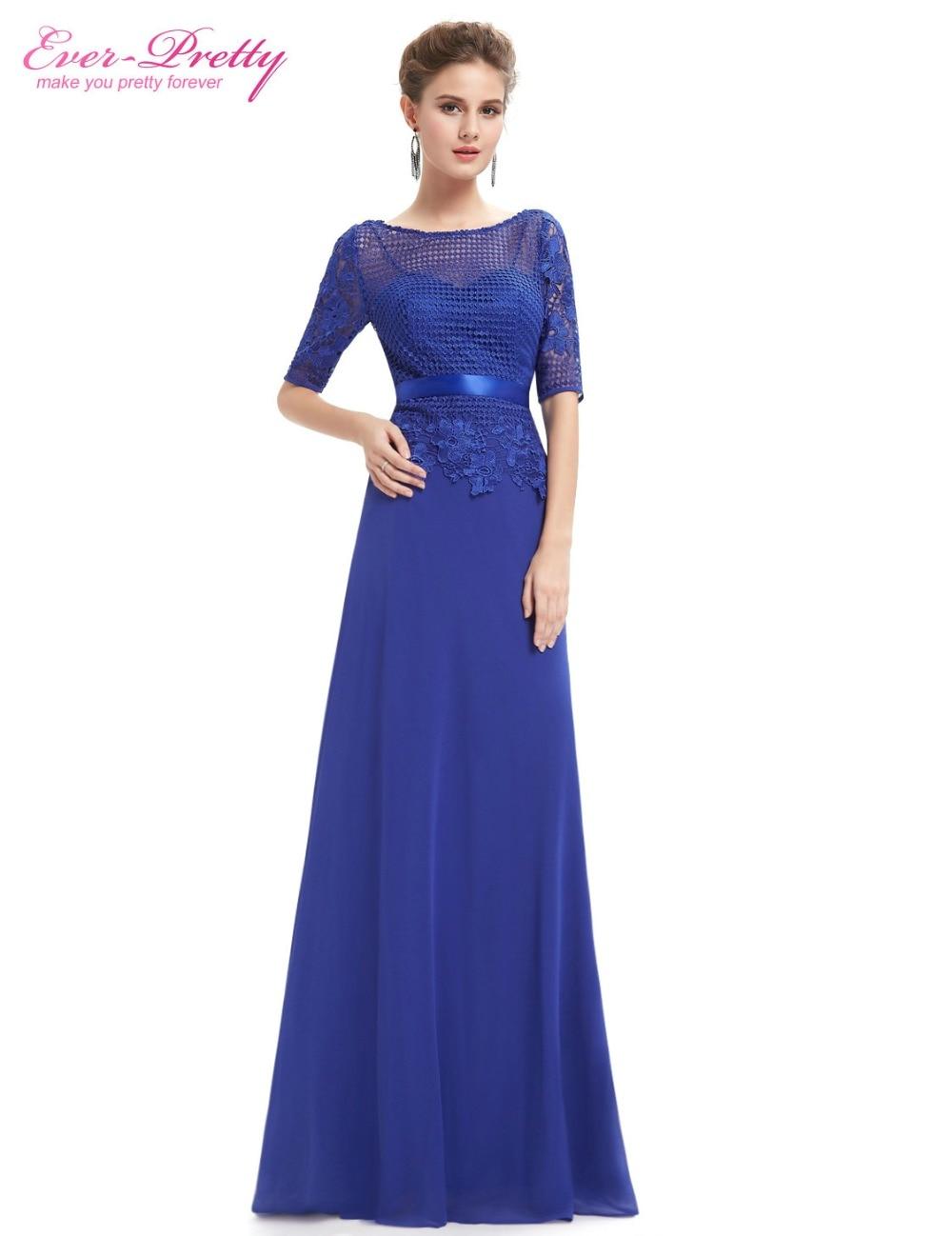 [Clearance Sale] Evening Dresses Ever Pretty HE08706SB Women Elegant Royal Blue O-Neck Weddings Events Long Evening Dresses 2017