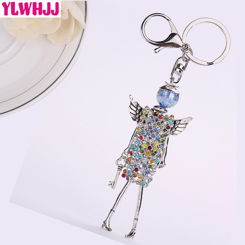 YLWHJJ brand new women cute angel wing rhinestones doll bag keychain girl fair crystal car key