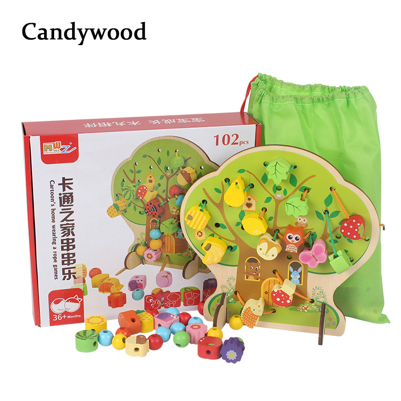 Candywood Colorful Multifunction Tree Wooden Beads Toys Education Wooden Toys Animal Fruit Beads Montessori Toy For Children kid montessori educational wooden toys for children knobless cylinder montessori 4 sets of 10 cylinders great gift for kids