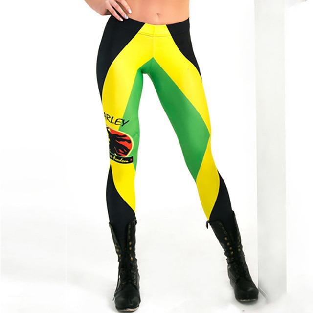 e6f70e1ce23 New L3791 Sexy Girl Pencil Pants Bob Marley Jamaican flag Printed Running  Fitness Sport Women Yoga Pants Plus Size