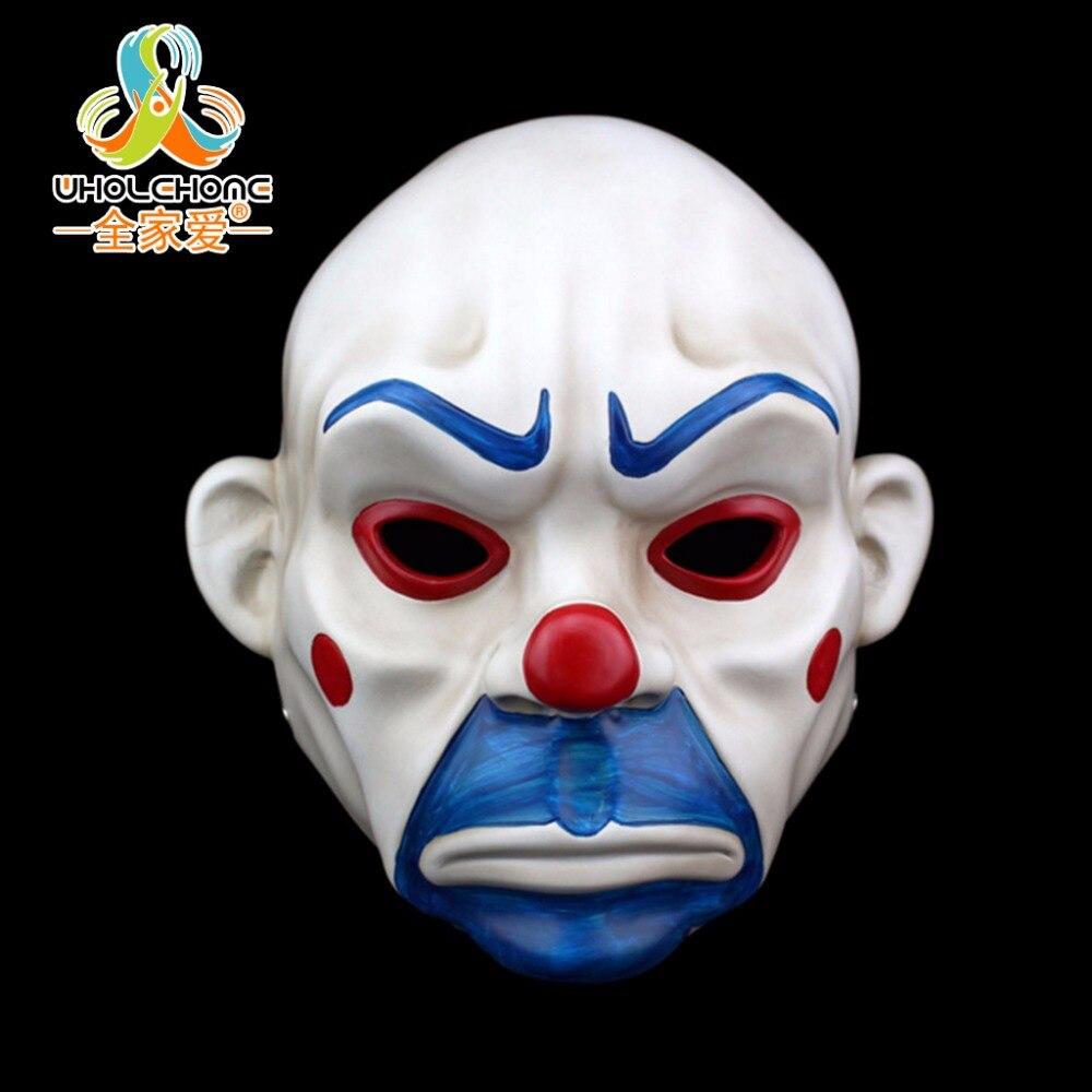 Erwachsene batman joker clown bank räuber maske dark knight kostüm halloween maskerade partei phantasie harz maske kostenloser versand