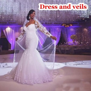 Image 5 - Mermaid Wedding Dress Sleeves 2019 Vestidos de novia Vintage Lace Sweetheart Neck Bridal Gown Backless Wedding Gowns